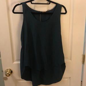 Rebecca Minkoff 100% silk teal blouse